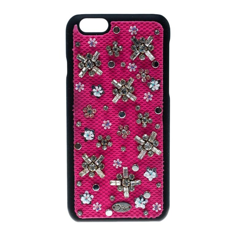 Dior Pink Crystal and Fabric Stardust Embellished IPhone 6 Case For Sale