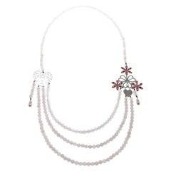 Dior Pink Crystal Heart Flower Motif Rose Quartz Beads Multistrand Necklace