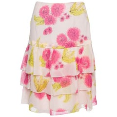 Dior Pink Floral Print Silk Tiered Skirt M