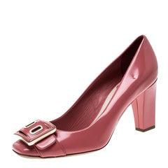 Dior Pink Leather Buckle Detail Block Heel Pumps Size 36.5