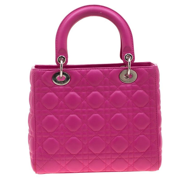 The Lady Dior tote is a Dior creation that has gained recognition worldwide and is today a coveted bag that every fashionista craves to possess. This pink tote has been crafted from leather and it carries the signature Cannage quilt. It is equipped