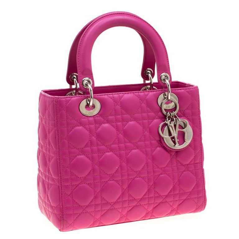 Women's Dior Pink Leather Medium Lady Dior Tote