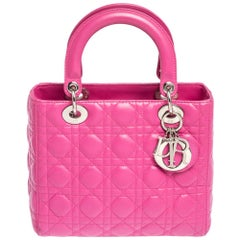 Dior Pink Leather Medium Lady Dior Tote