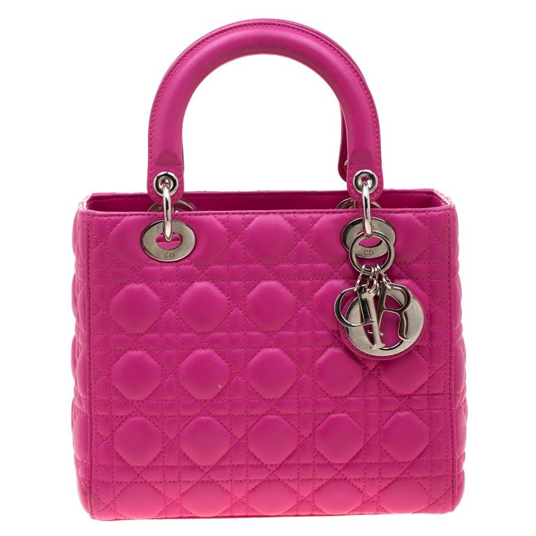 Dior Pink Leather Medium Lady Dior Tote
