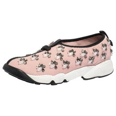 Dior Pink Mesh Fusion Embellished Sneakers Size 39