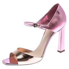 Dior Pink Metallic Patent Leather Open Toe Ankle Strap Sandals Size 38.5
