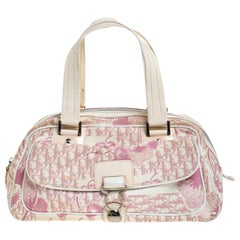 Dior Pink/Off White Canvas Romantique Satchel