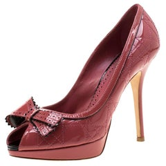 Dior Pink Patent Cannage Leather Peep Toe Platform Pumps Size 39.5