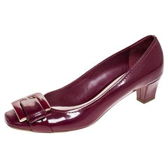 Dior Pink Patent Leather Metal Buckle Detail Pumps Size 40.5