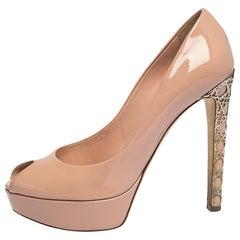 Dior Pink Patent Leather Metal Cannage Peep Toe Platform Pumps Size 40