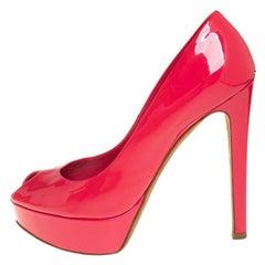 Dior Pink Patent Leather Platform Peep Toe Pumps Size 37