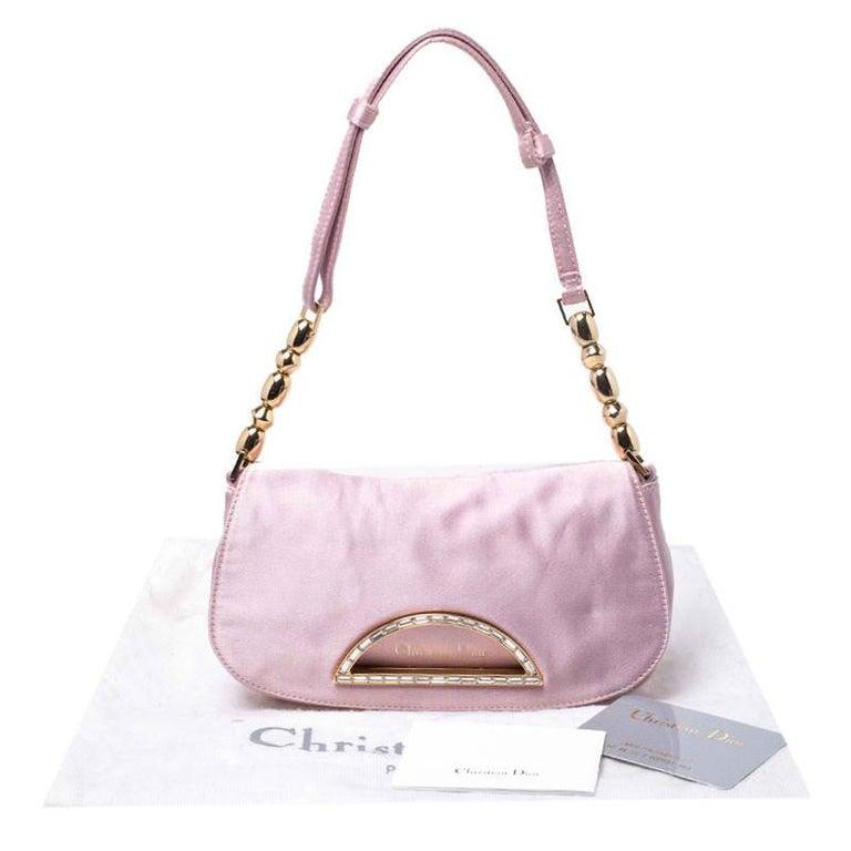 Dior Pink Satin Pochette Bag 7