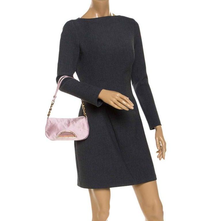 Gray Dior Pink Satin Pochette Bag