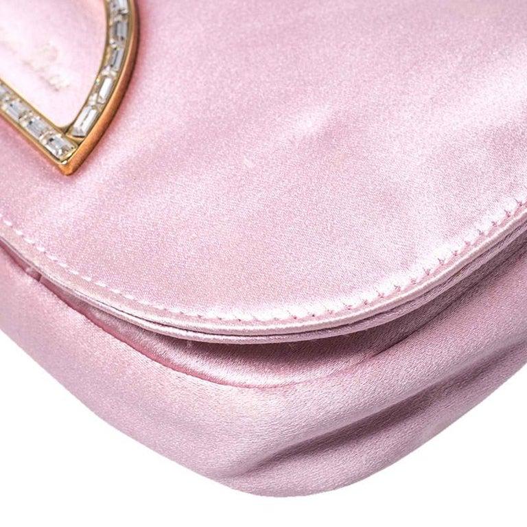 Dior Pink Satin Pochette Bag 1