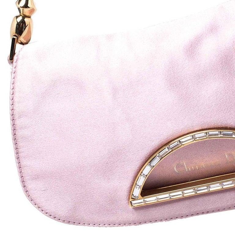 Dior Pink Satin Pochette Bag 2