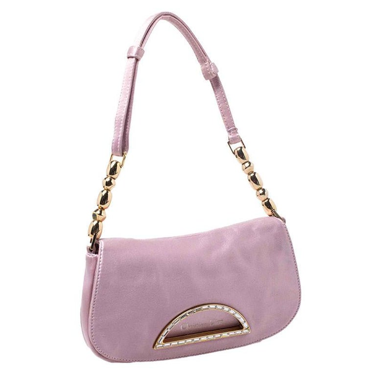 Dior Pink Satin Pochette Bag 3