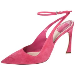 Dior Pink Suede Pointed Toe Ankle Strap Sandals Size 40