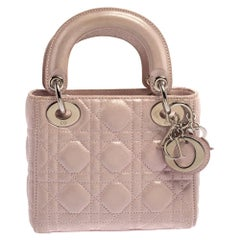 Dior Powder Pink Shimmering Leather Mini Chain Lady Dior Tote