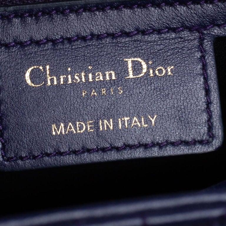 Dior Purple Cannage Leather Medium Lady Dior Tote 5