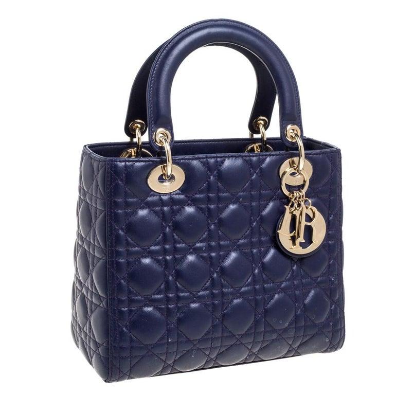 Black Dior Purple Cannage Leather Medium Lady Dior Tote