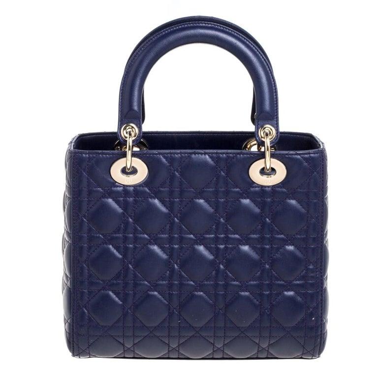 Dior Purple Cannage Leather Medium Lady Dior Tote In Good Condition In Dubai, Al Qouz 2