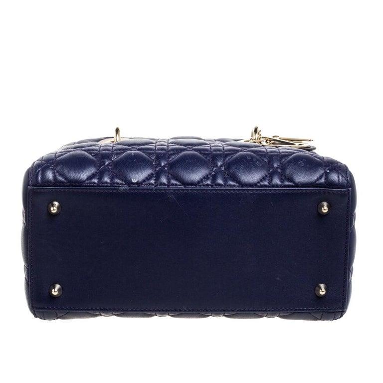 Women's Dior Purple Cannage Leather Medium Lady Dior Tote