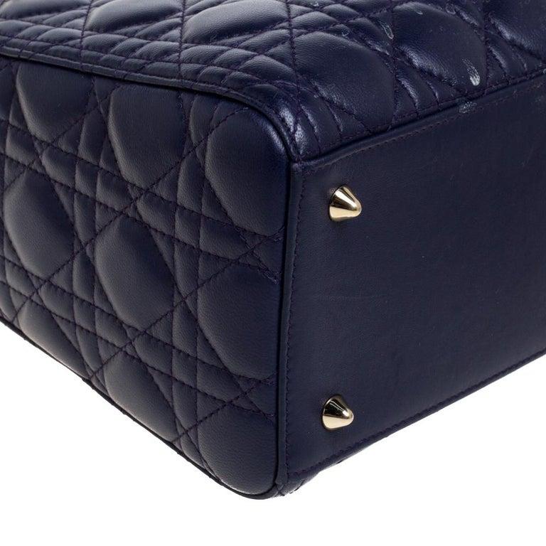 Dior Purple Cannage Leather Medium Lady Dior Tote 1
