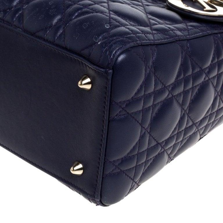 Dior Purple Cannage Leather Medium Lady Dior Tote 2
