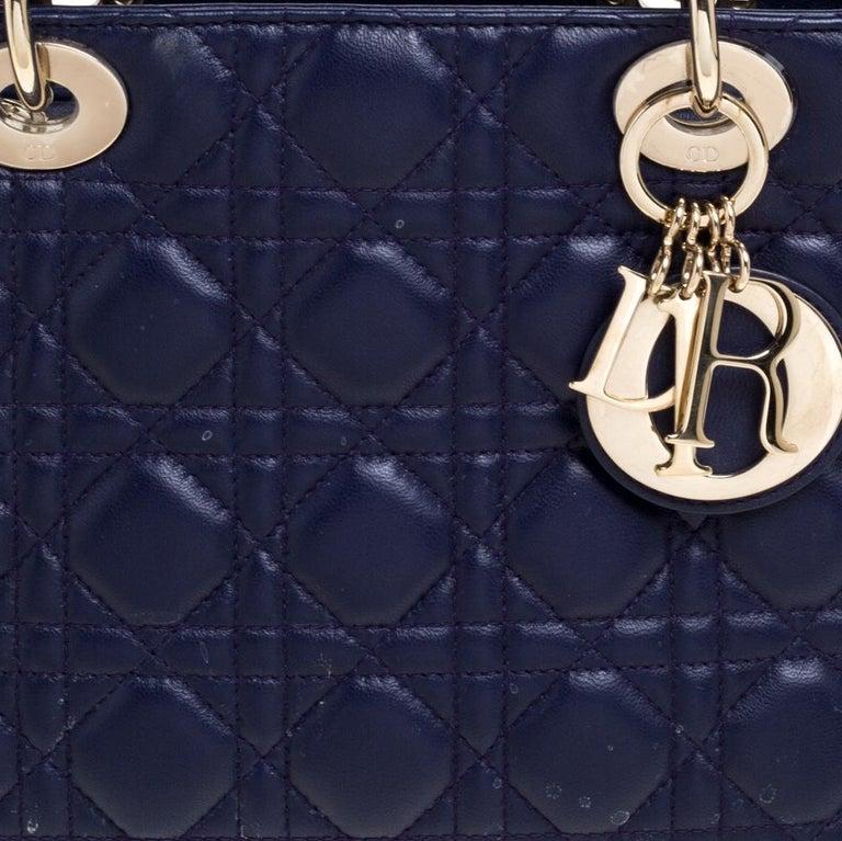 Dior Purple Cannage Leather Medium Lady Dior Tote 4