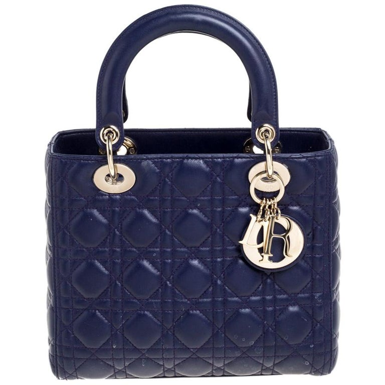 Dior Purple Cannage Leather Medium Lady Dior Tote