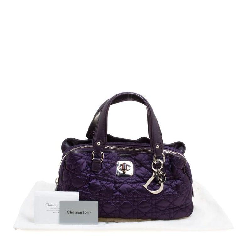Dior Purple Cannage Nylon Satchel For Sale 7