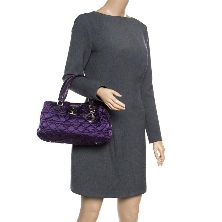 Black Dior Purple Cannage Nylon Satchel For Sale