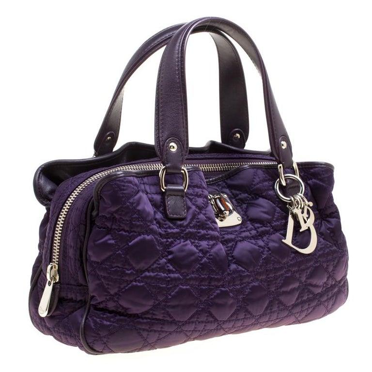 Dior Purple Cannage Nylon Satchel In Good Condition For Sale In Dubai, Al Qouz 2