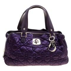 Dior Purple Cannage Nylon Satchel