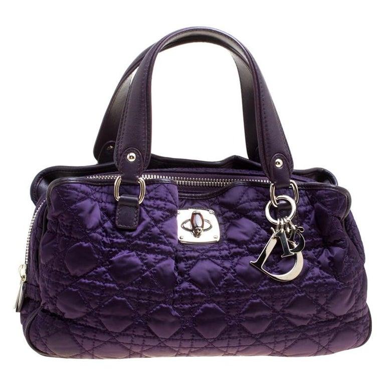 Dior Purple Cannage Nylon Satchel For Sale