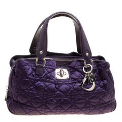 Dior Purple Cannage Nylon Satchel