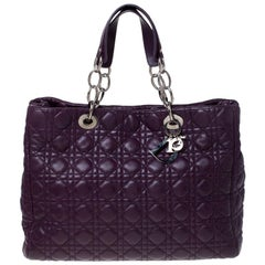 Dior Purple Cannage Quilted Soft Leather Large Shopper Tote
