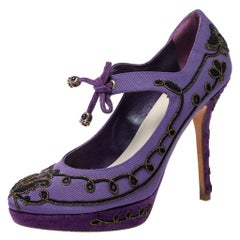 Dior Purple Embroidered Canvas And Suede Platform Pumps Size 38