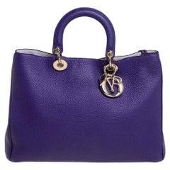 Dior Purple Leather Large Diorissimo Shopper Tote