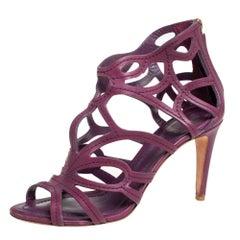 Dior Purple Leather Paradis Sandals Size 39.5