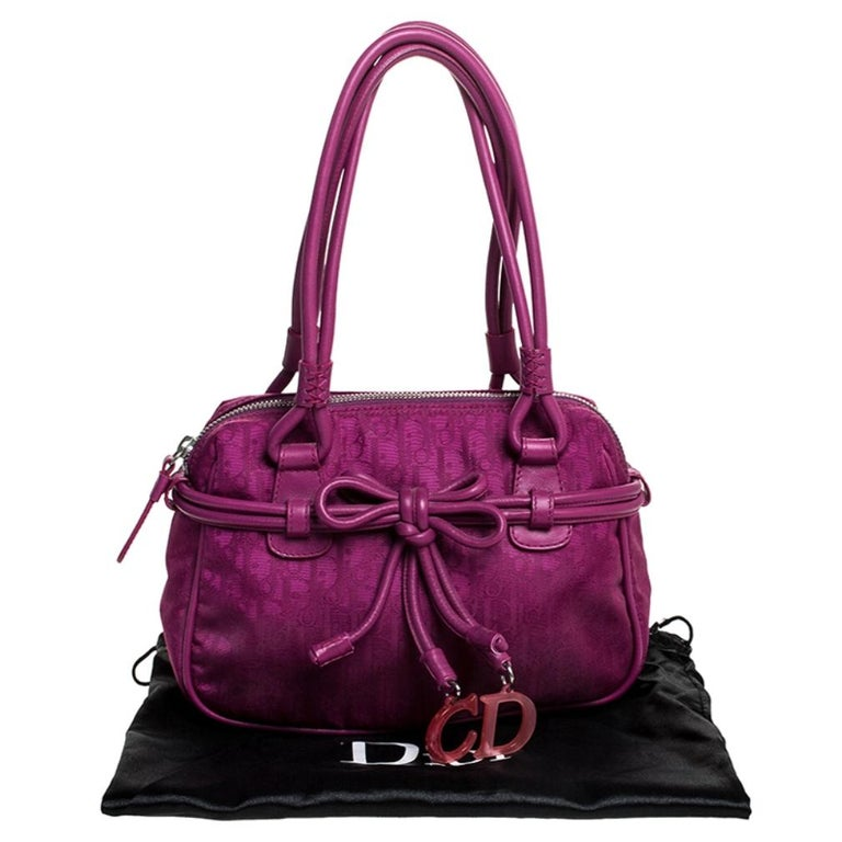Dior Purple Monogram Nylon and Leather Bow Shoulder Bag For Sale 8
