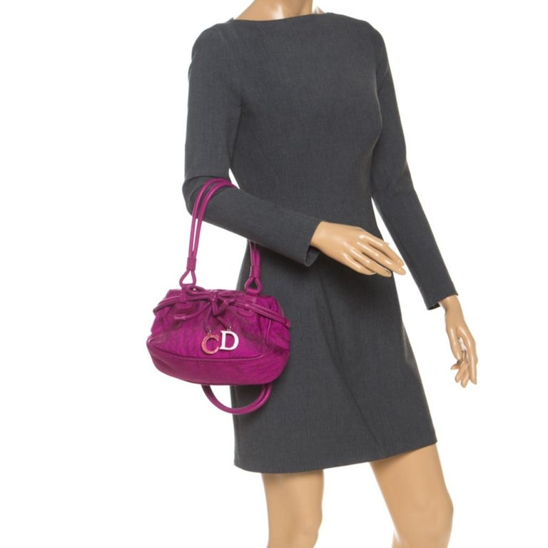 Dior Purple Monogram Nylon and Leather Bow Shoulder Bag In Good Condition For Sale In Dubai, Al Qouz 2