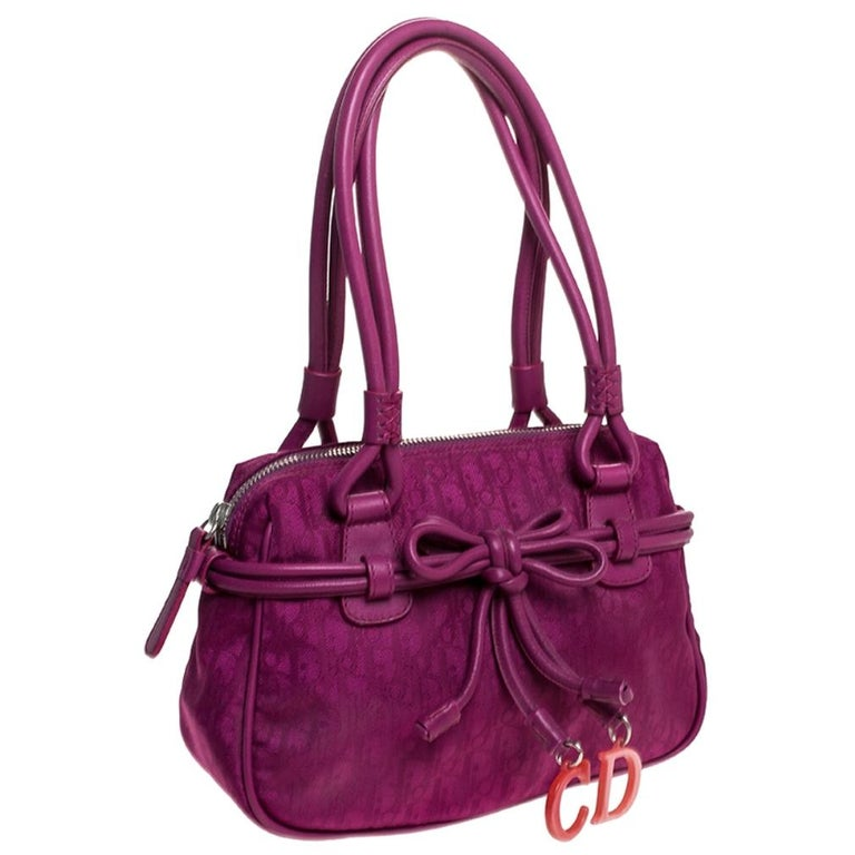 Women's Dior Purple Monogram Nylon and Leather Bow Shoulder Bag For Sale
