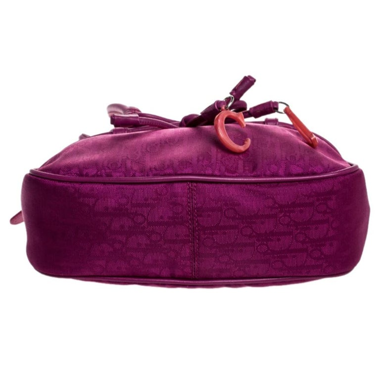 Dior Purple Monogram Nylon and Leather Bow Shoulder Bag For Sale 1