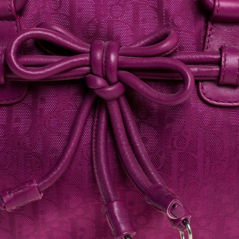 Dior Purple Monogram Nylon and Leather Bow Shoulder Bag For Sale 2