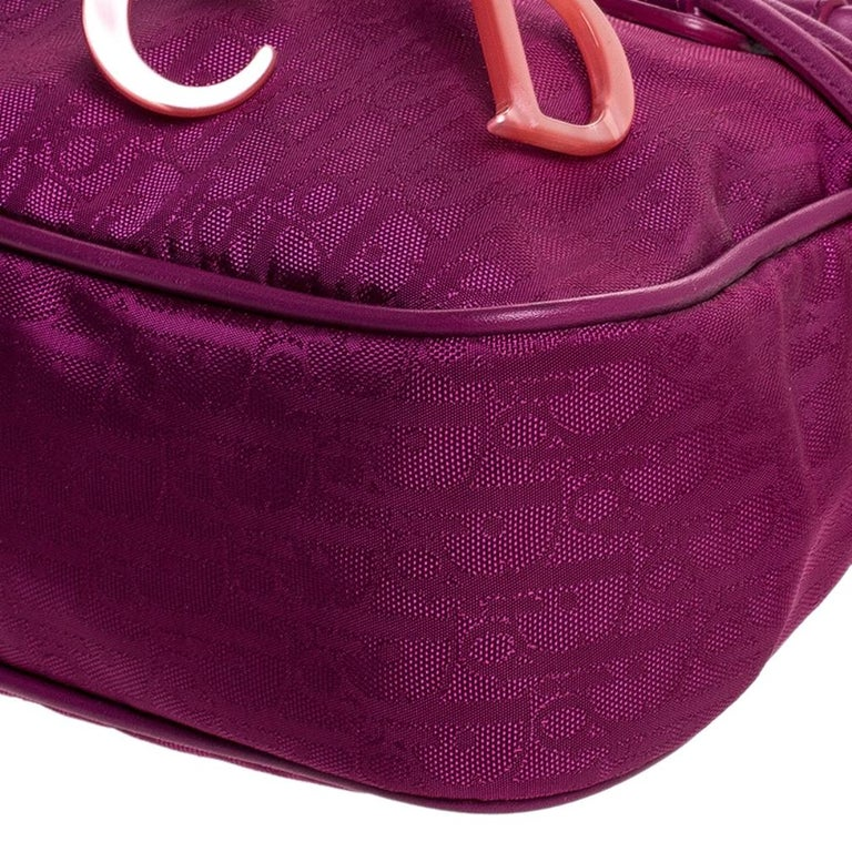Dior Purple Monogram Nylon and Leather Bow Shoulder Bag For Sale 3