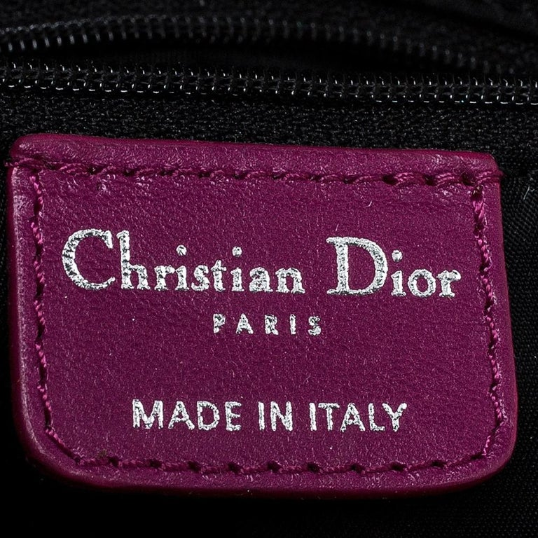 Dior Purple Monogram Nylon and Leather Bow Shoulder Bag For Sale 5