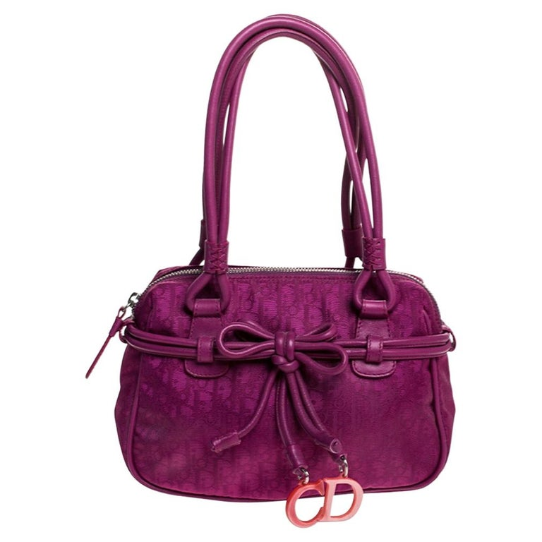 Dior Purple Monogram Nylon and Leather Bow Shoulder Bag For Sale