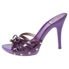 Dior Purple Patent Leather Bow Open Toe Sandals Size 36