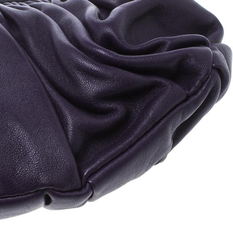 Dior Purple Pleated Leather Frame Clutch For Sale 5